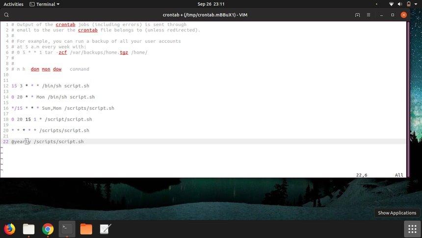 crontab Linux example