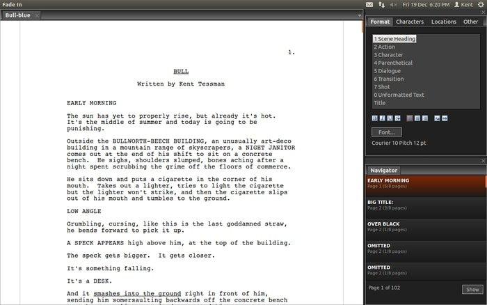 Fade In-script writing software