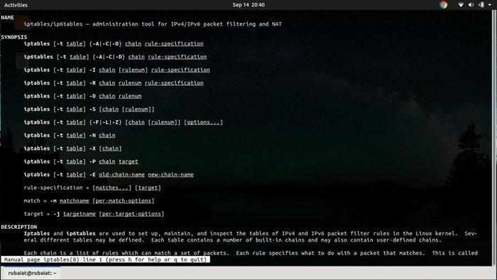 iptables man page