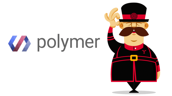 polymer logo with a man standing