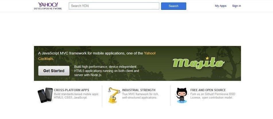 Yahoo Mojito Homepage NodeJs Frameworks