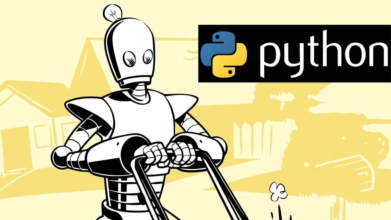 Automate the Boring Stuff with Python Programming Book Logo With Python Logo and Text On Black Ground