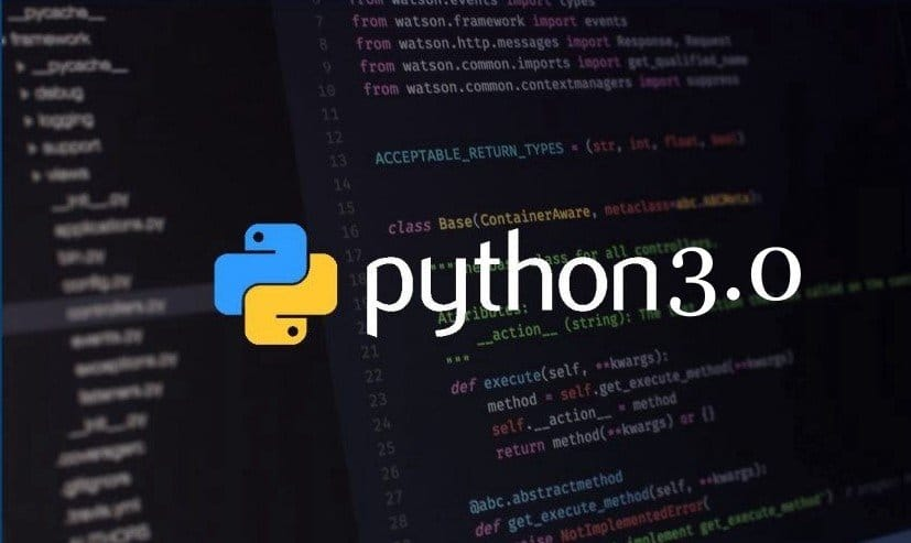 Python Logo With text Python 3.0; Backgrund: Baclk Blurred Coding Screen