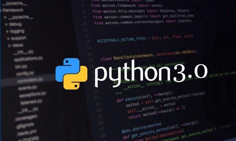 Python Logo With text Python 3.0; Backgrund: Baclk Blurred Coding Screen