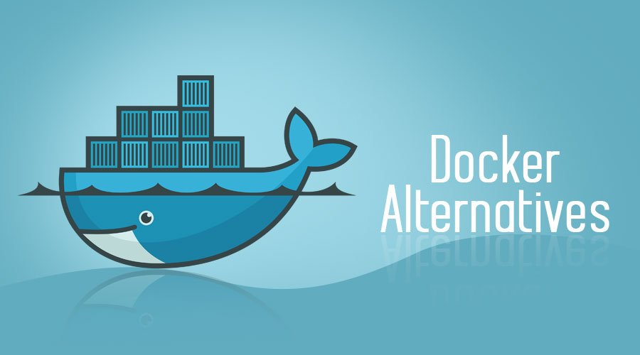 Docker logo with text Docker alternative - Docker Interview Questions