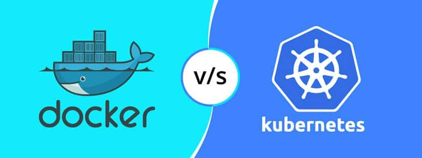 Docker vs Kubernetes logo on two different color code