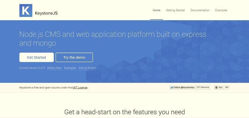 Homepage of Keystone Js, A NodeJs CMS