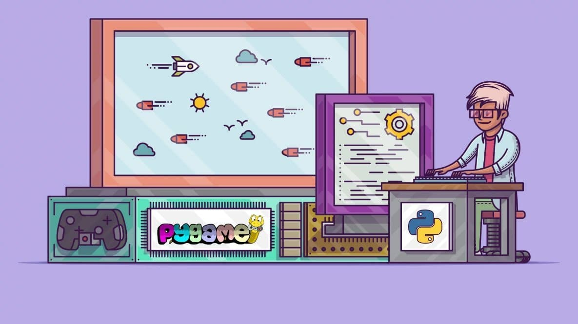 Large and small gaming screen with a man sitting before python and pygame - python packages logo (animated)