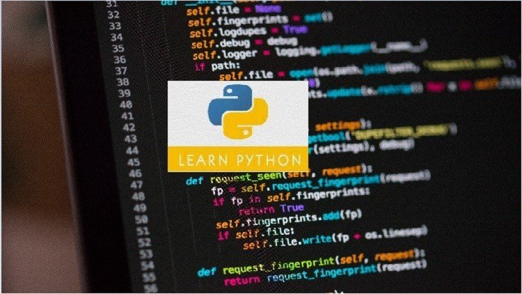 "Part of Laptop Screen With Coding and Python Logo With Text ""Learn Python"" Above: Type: Python Certification"