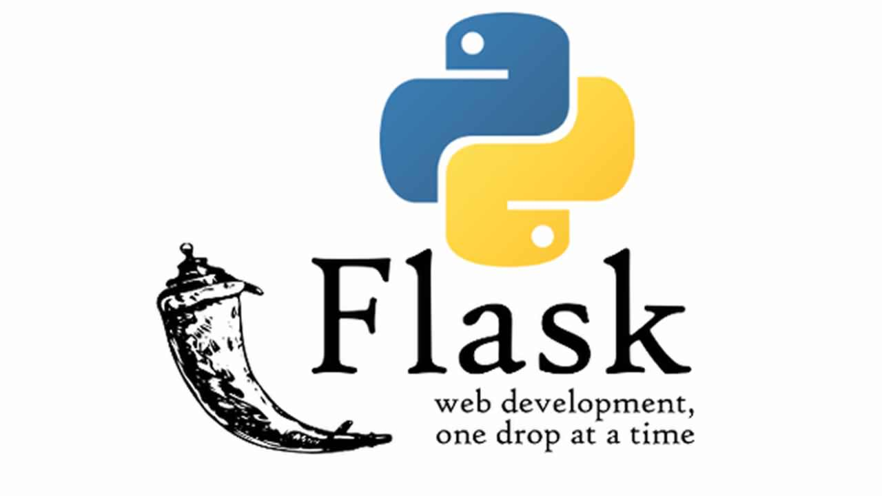 Python and Flask Logo With A Motto Line On White Background.