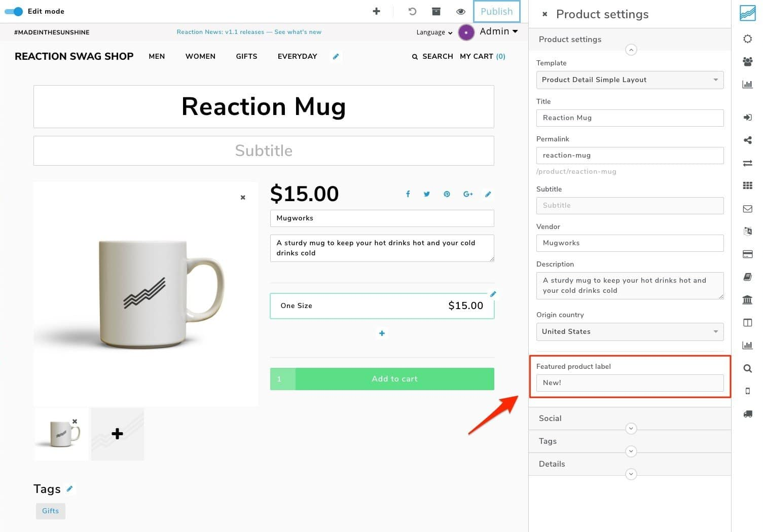 An example of an eCommerce shop with reaction commerce