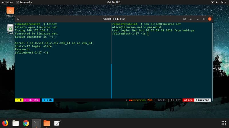 Linux network commands for remote login
