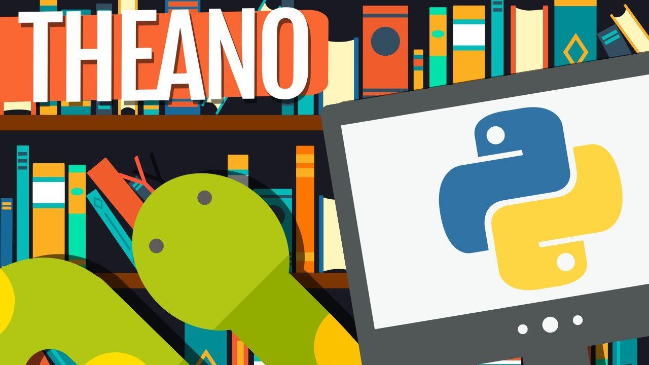 Text Theano with Python Logo and Bookshelf as background