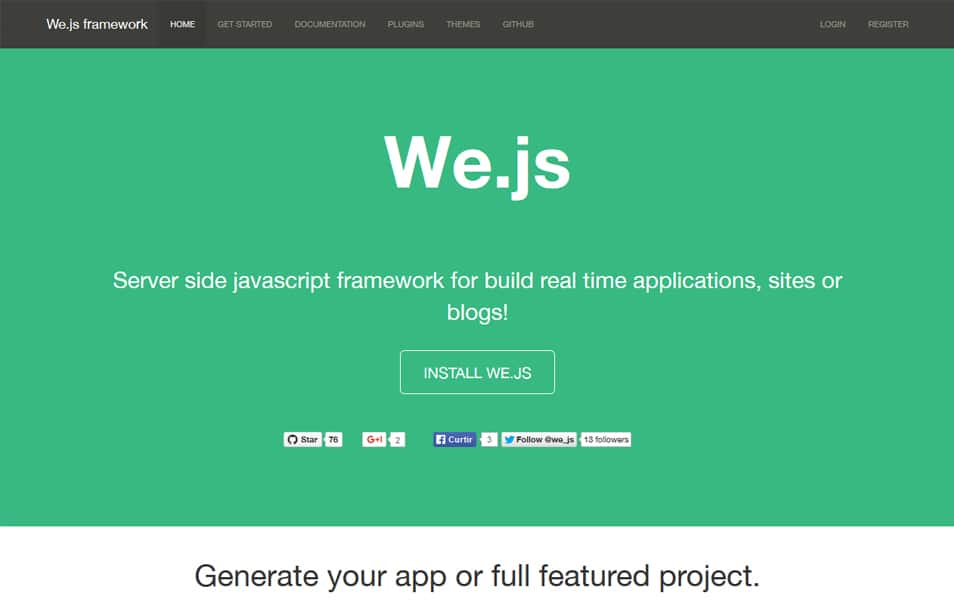 We.Js HomePage with introduction to We.Js