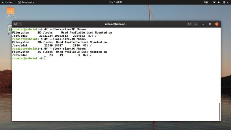 Linux df commands for any block size