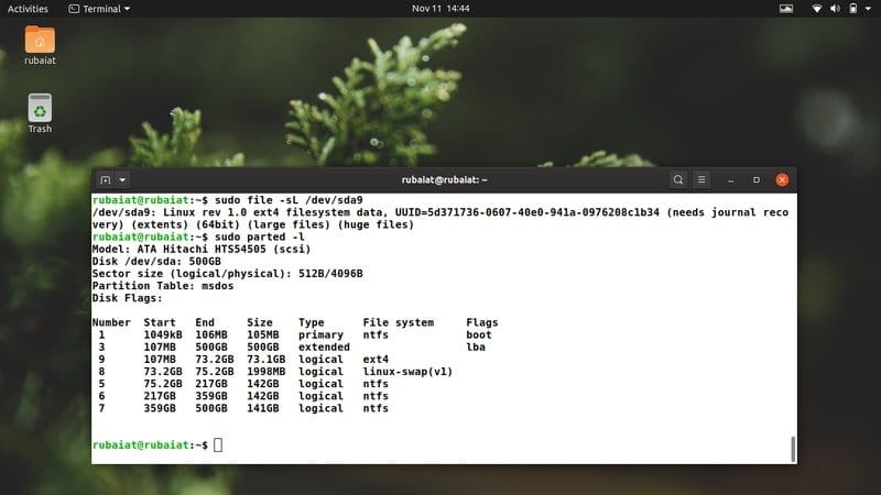 check file system type in Linux