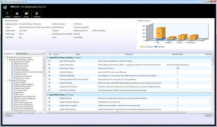 OS optimization VMware tools