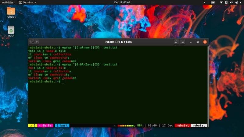 alphanumeric expression in grep command