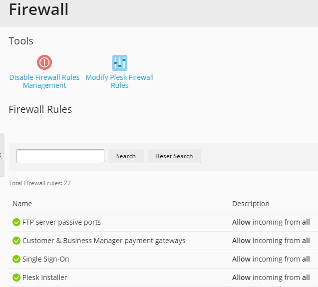 plesk firewall