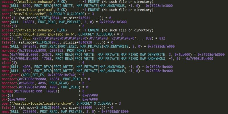 strace in Linux debuggers