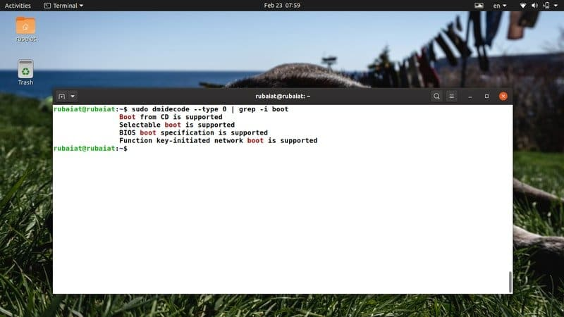 dmidecode command displaying boot properties