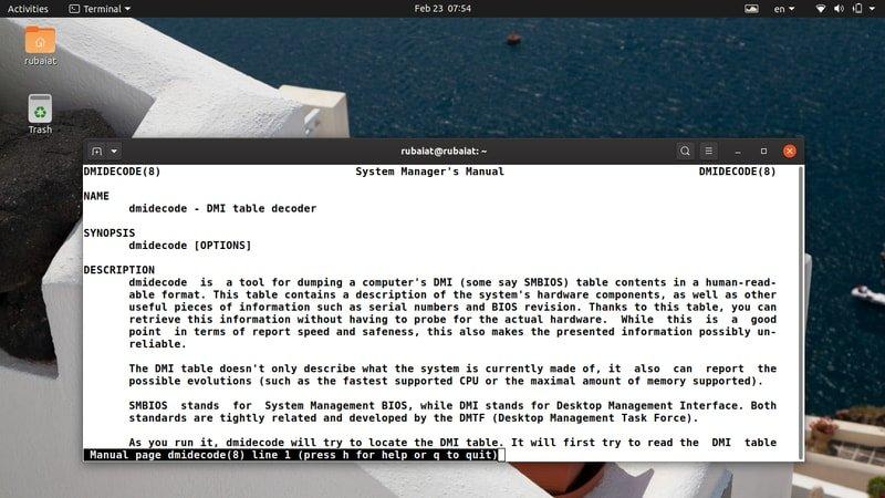 Linux dmidecode command