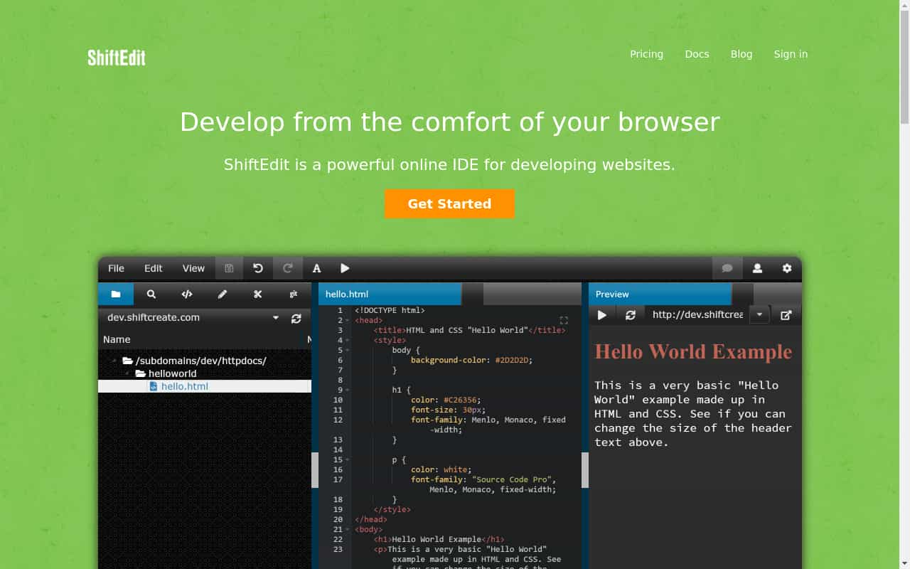shiftedit Cloud IDE
