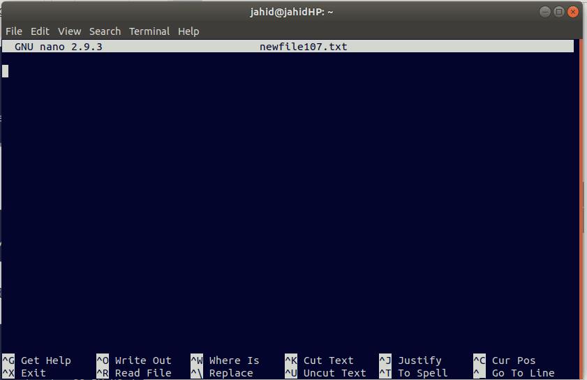 Create file in Linux nano
