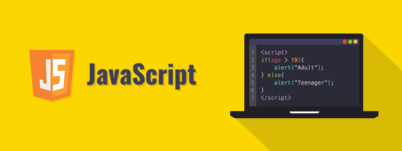 """Yellow Background: JS Logo from left, Word """"JavaScript"""" and a black screen with code. Type: JavaScript Interview Questions"""