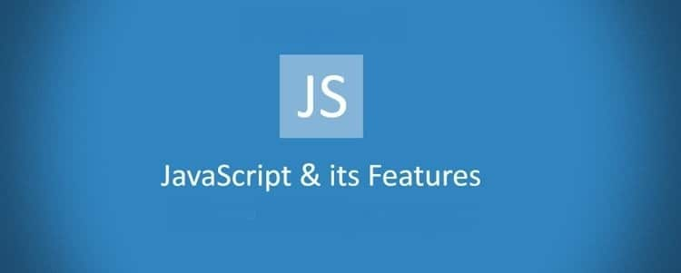 Middle Body: JS logo and Text: JavaScript and its features on blue background