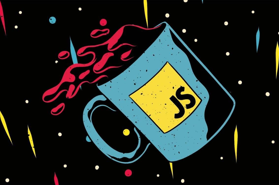 A mug titled with JS falling with split coffee; background: black with white dots