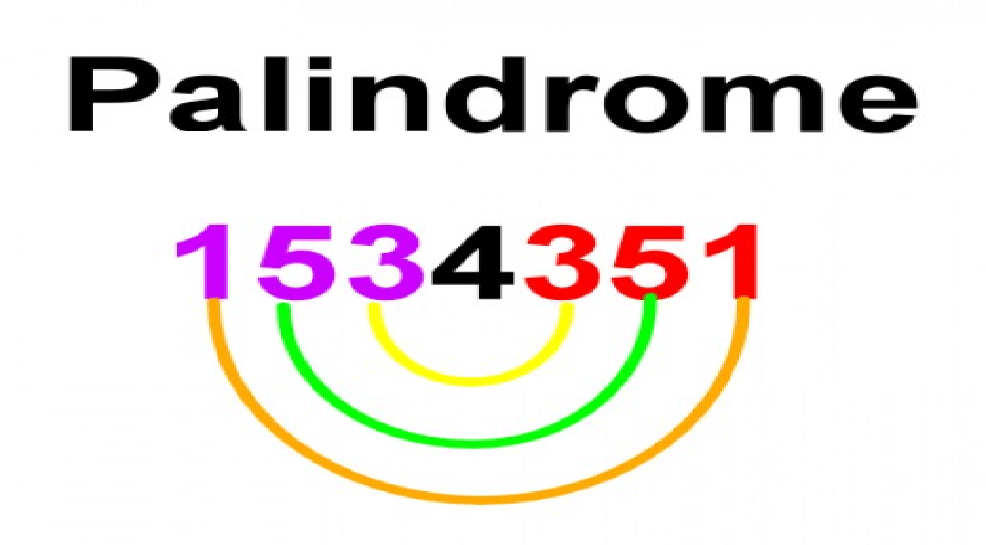 Palindrome described with numbers. Background: white
