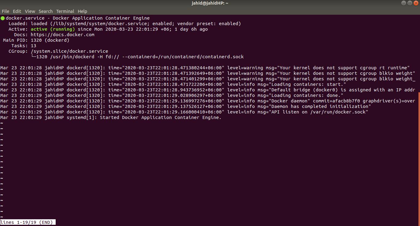 docker status check in linux