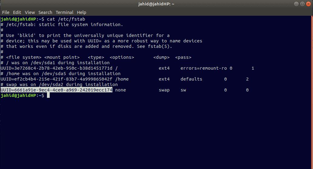 fstab identify linux UUID filesystem