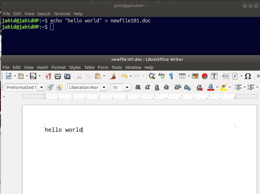 hello world from echo