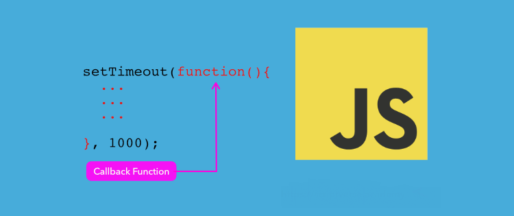 JavaScript Callback Function described with example, JS word on yellow note; background: sky blue