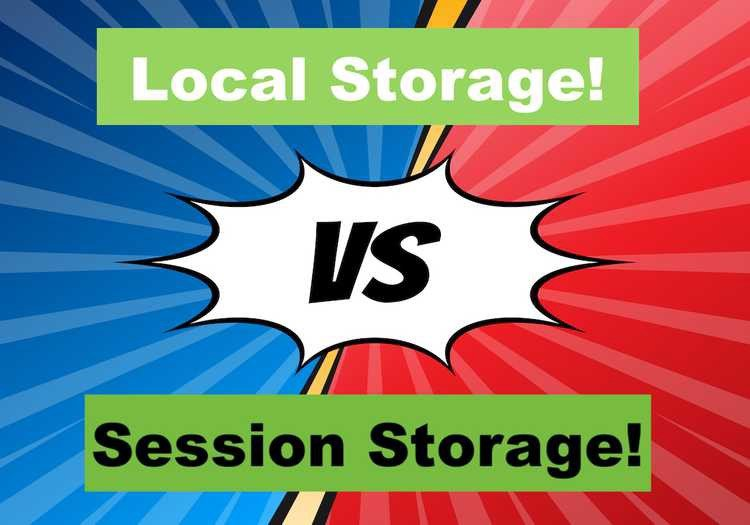local storage vs session storage; background blue separated with tilted red; Type JavaScript Interview Questions