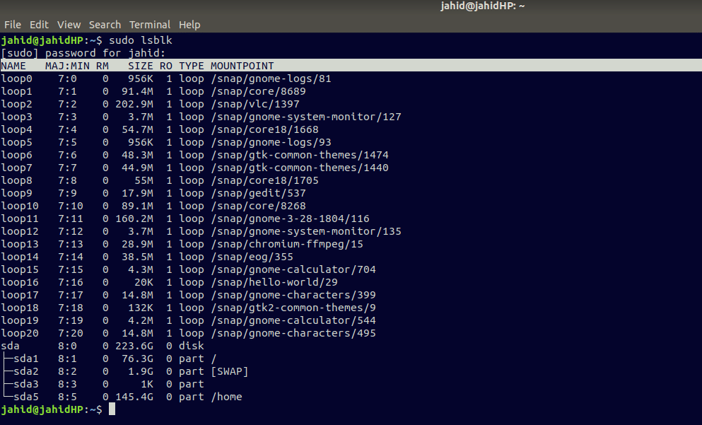 lsblk UUID filesystem identify linux