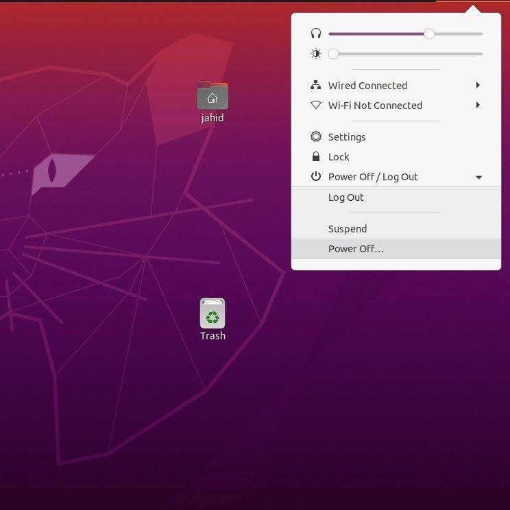 power-button-view-at-ubuntu-20.04