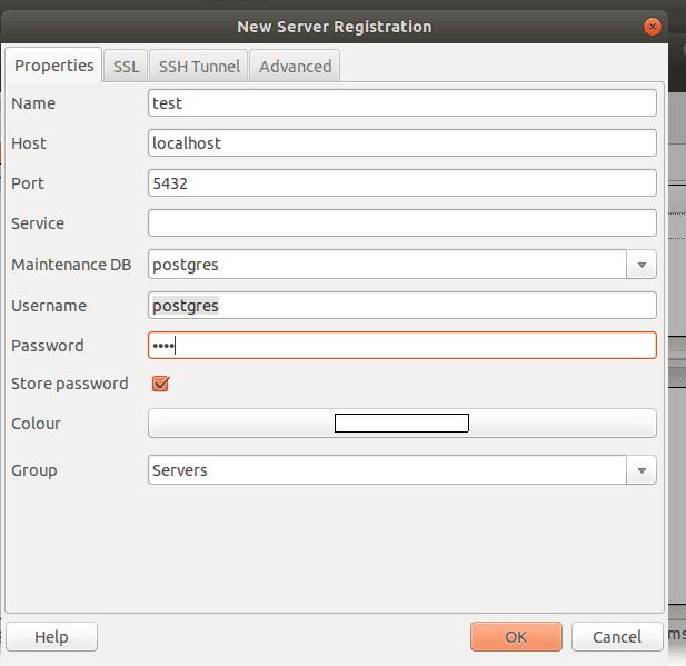 server of postgreSQL database in linux
