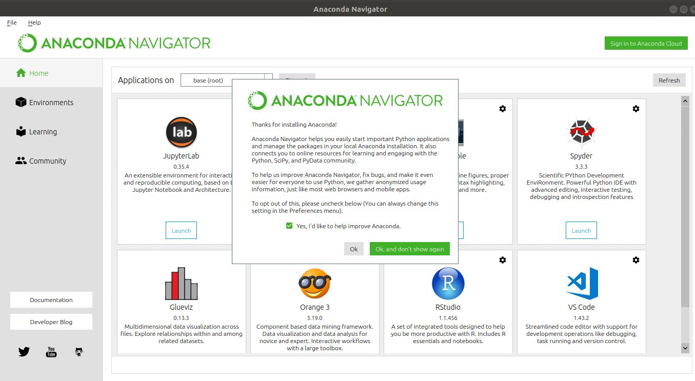 anaconda navigator and jupyterlab in lunux
