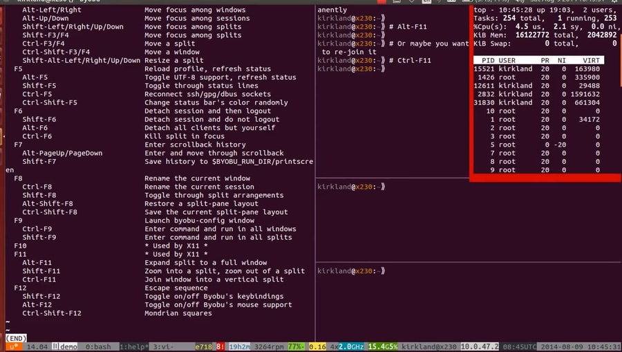 byobu ssh disconnect linux after running