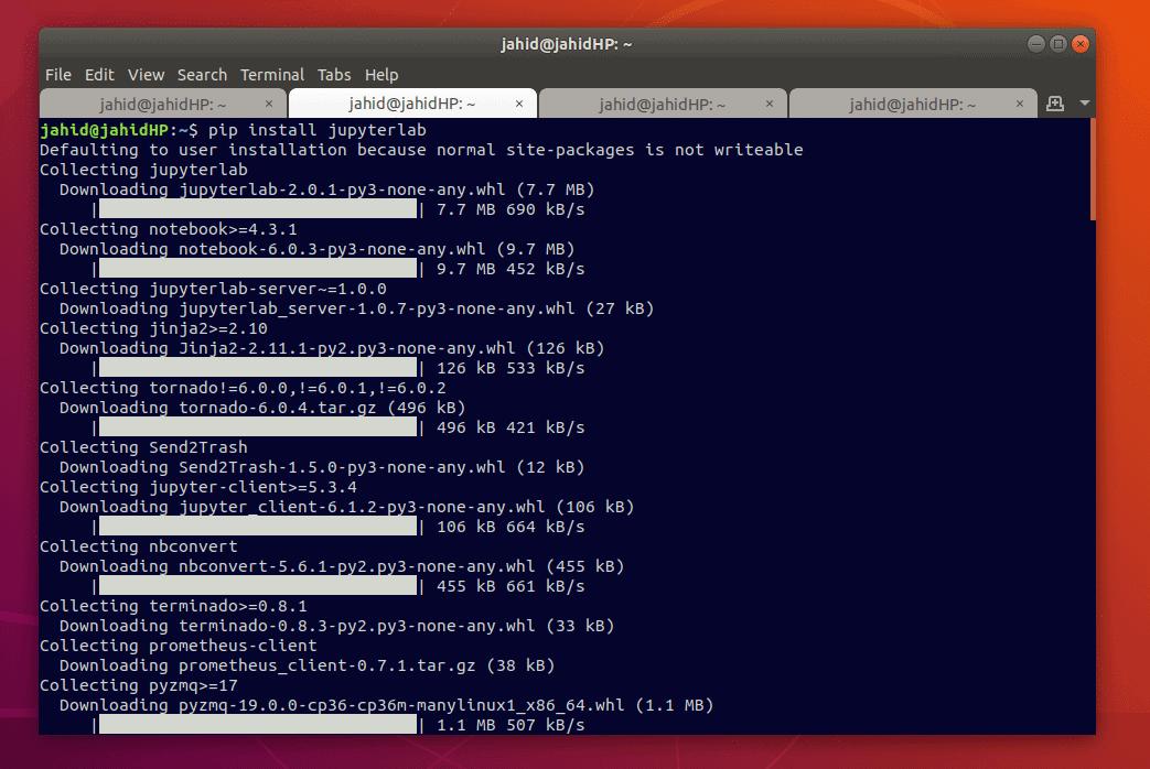 anaconda navigator linux pip install jupyterlab
