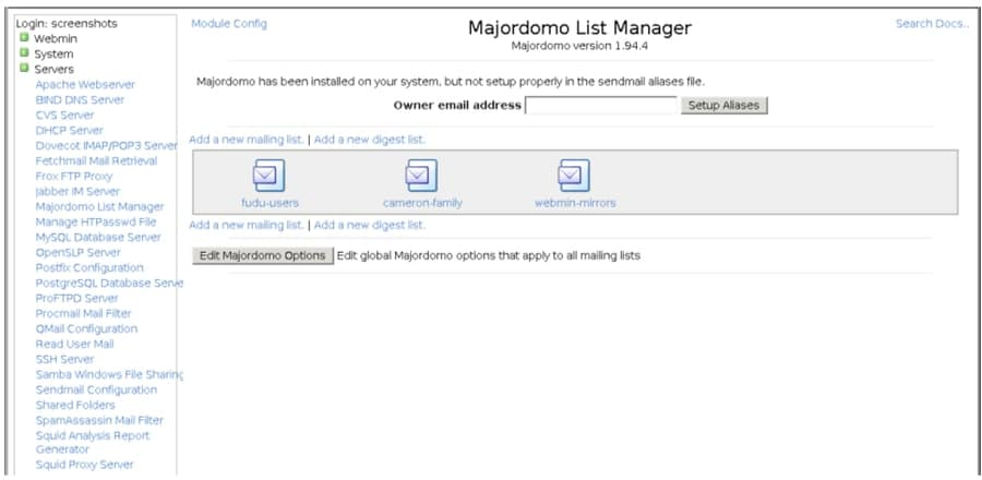majordomo - mailing list manager for linux