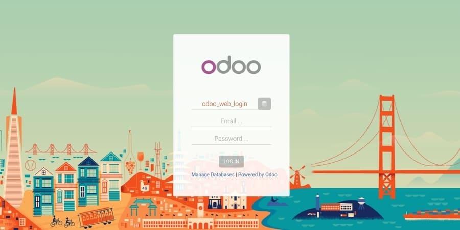 Odoo login page