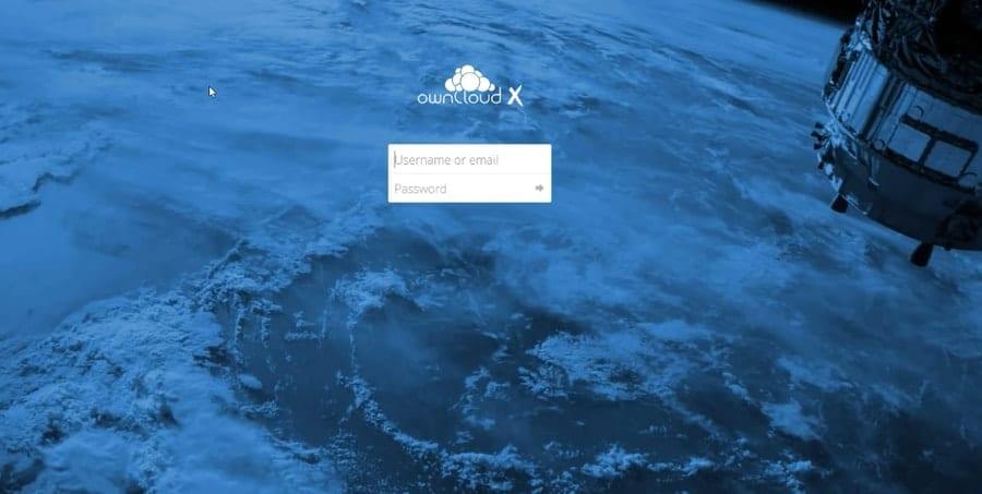 Owncloud login page in Ubuntu