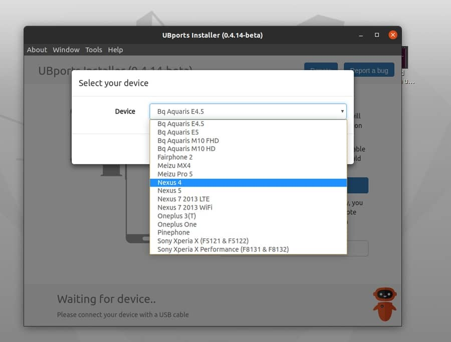 android list drop down Ubuntu touch