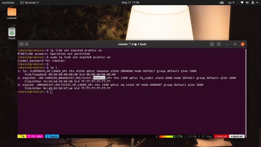 enable promisc mode using ip command