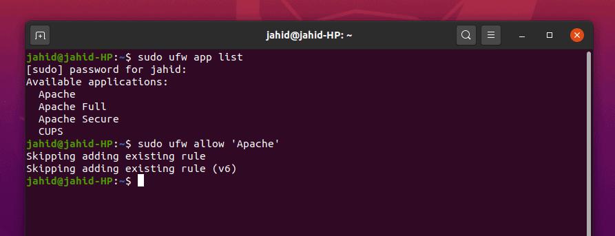 firewall Apache Owncloud Ubuntu