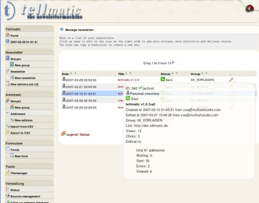 tellmatic - mailing list manager for linux